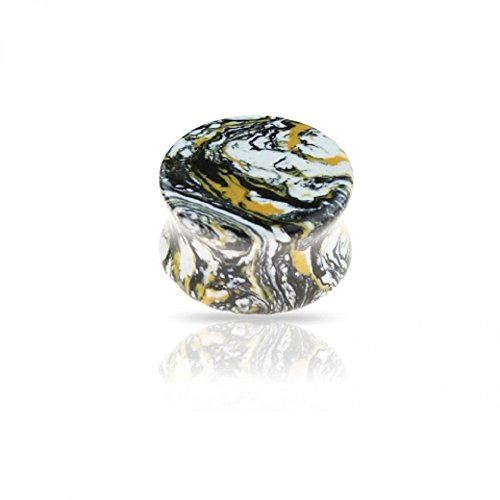 Freedom Fashion Semi Precious Marble Tone Stone Solid Saddle Plug (Sold by Pair) (5/8, Nest Swirl) ()