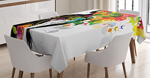 Madame Butterfly Fabric - Colorful Home Decor Tablecloth by Ambesonne, Madame Butterfly Modern Version with Spring Spiral Circles Leaf Botany Girl, Dining Room Kitchen Rectangular Table Cover, 52 W X 70 L Inches, Multi
