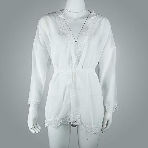 Youngii Fleur Detelle Lingerie Chic Veste Mousseline Babydoll Manche Kimono Tops Blanc Manteau Femme Courte Mince qrwpBAUfq