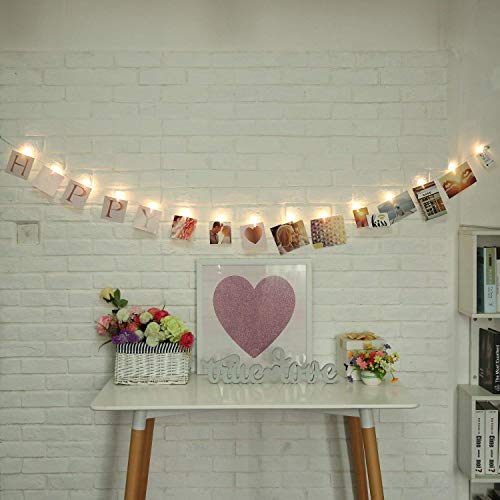 (BOSSLV Decorative Lights, Family Photo Clip String Lights White Light Indoor Outdoor Wedding Party Birthday Bedchamber Garden Home Decor 15 Led Clip 13 Feet DIY 60 Letters 4X4 Inches)