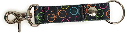 Bicycles Black with Neon - Handy Clip, Snap, & Ring Style Key Webbing Fob Keychain