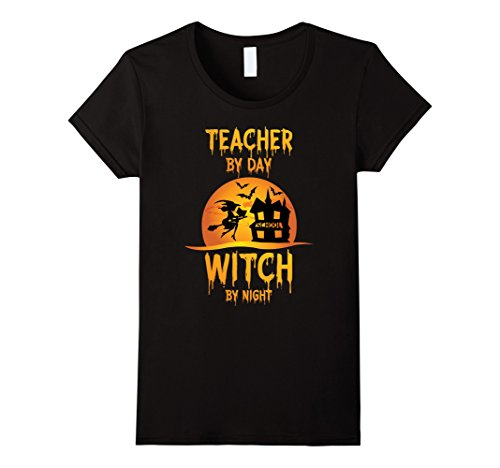 Womens Halloween Teachers T-Shirt - Witch By Night Tutor Costume Medium Black