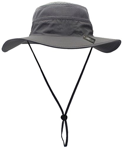Camo Coll Outdoor Sun Cap Camouflage Bucket Mesh Boonie Hat (Grey, One Size)