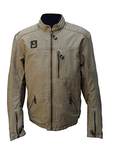 Men's Garry Sand Motorcycle Wax Cotton Armoured Jacket. GRAY by Spirit Gear