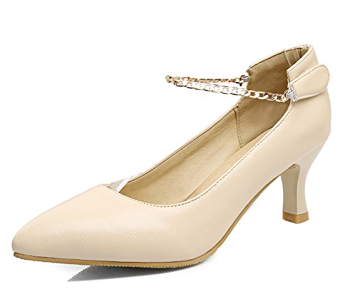 Easemax Womens Elegant Ankle Chain Pointed Toe Low Top Mid Chunky Heel Pumps Shoes Apricot KUh3o6DX