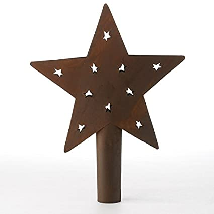 Primitive Style Rusty Metal Star Tree Topper or Shelf Sitter with Tiny Prim  Star Cutouts - Amazon.com: Primitive Style Rusty Metal Star Tree Topper Or Shelf