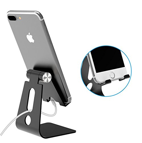 Adjustable Tablet Stand Phone Holder, Aluminum Alloy Cradle Dock Switch Charging For Android Smartphone,IPhone,IPad,Samsung,Desktop,Kindle,E-readers,Accessories Desk,1PC (Black) by Camphor tree