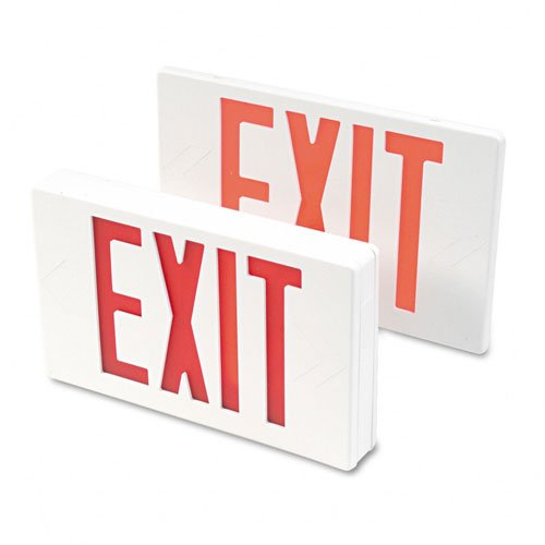- Tatco : LED Exit Sign with Battery Back-Up, Polycarbonate, 12-1/4 x 2-1/2 x 8-3/4, White -:- Sold as 2 Packs of - 1 - / - Total of 2 Each