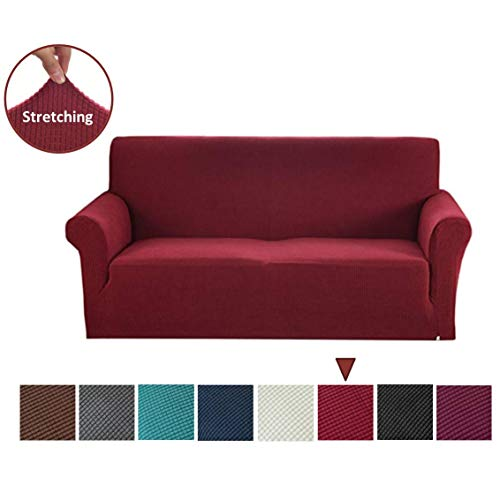 Argstar Jacquard XL Sofa Slipcover, Wine Red Stretch Oversized Couch Slip Cover, Spandex Furniture Protector for Large 3 Cushion Seater Living Room, Machine Washable (Sofa Leather Shape L)