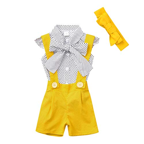 (LiLiMeng Toddler Baby Girls Sleeveless Sleeve Dot Tops Bow Turndown T-Shirt+Solid Overalls Pants Shorts Dress+Headband)