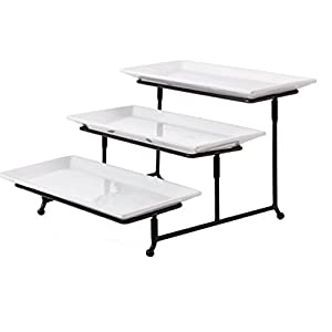 Gibson Elite Gracious Dining Dinnerware, 3-Tier Rectangle Plate Set with Metal Stand, White