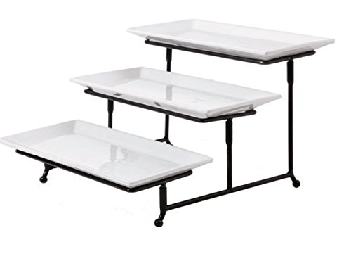 - Gibson Elite 102157.04RM Gracious Dining Three Tier Rectangle Plate Set Ware with Metal Stand, White