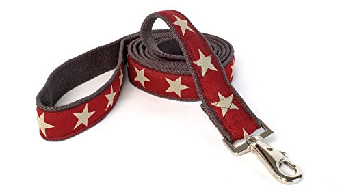 Earthdog 6' Hemp Dog Leash in Star Pattern (Red) (Leash Dog Hemp)