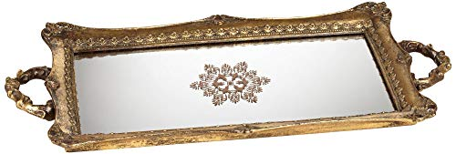 Kensington Hill Randa Antique Gold Mirrored Tray (Trays Decanter)