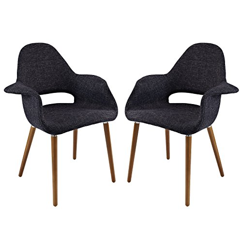 Modway Aegis Mid-Century Modern Upholstered Fabric Organic Two Dining Armchair Set With Wood Legs In Black