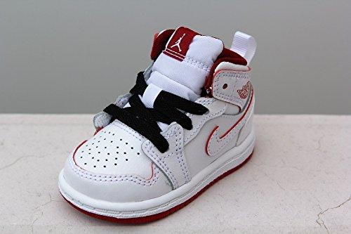 Nike BOYS INFANT/TODDLER JORDAN 1 MID BT WHITE GYM RED BL...