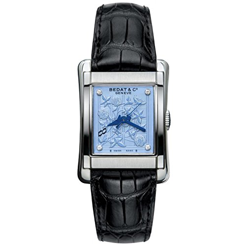 Bedat & Co Women's No.7 Diamond Black Leather Band Steel Case Automatic Blue Dial Analog Watch 728.010.Z05