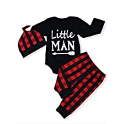 Baby Boy Little Man Long Sleeve Print Romper Plaid Pants Hat Outfits Layette Set (Black, 6-12 Months)