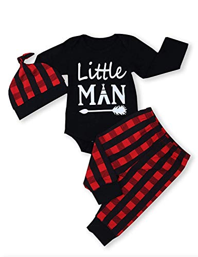 Baby Little Man Long Sleeve Print Romper Plaid Pants Hat Outfits Layette Set (Black, 12-18 -