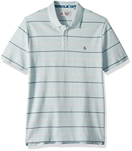 Original Penguin Men's Short Sleeve Feeder Stripe Polo, Pastel Blue, Medium (Penguin Striped Polo Shirt)