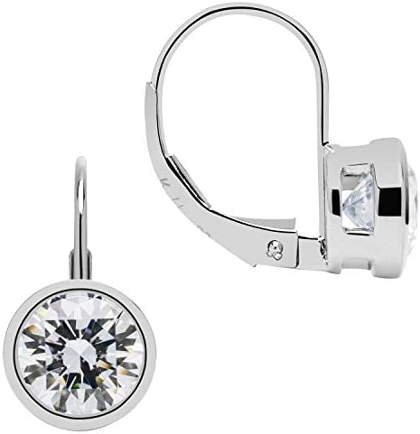 Details about  / 14k Yellow Gold Drop Cushion Bezel Created Diamond Leverback Earrings 9mm