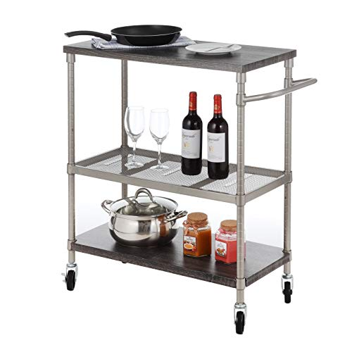 Home Zone Bar & Serving Storage Cart with 3-Tier Wide Shelving Unit and Caster Wheels | Steel and Wood with Satin Nickel -