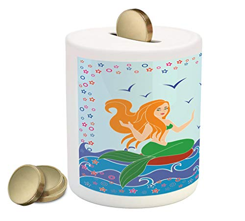 Lunarable Underwater Piggy Bank, Dolphin and Mermaid Girl on The Sea Blue Waves Colorful Summer Time Drawing, Ceramic Coin Bank Money Box for Cash Saving, 3.6