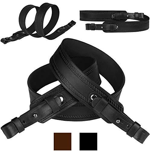 BronzeDog Rifle Sling Genuine Leather Strap Adjustable Belt Shotgun Hunting Accessories (Black)