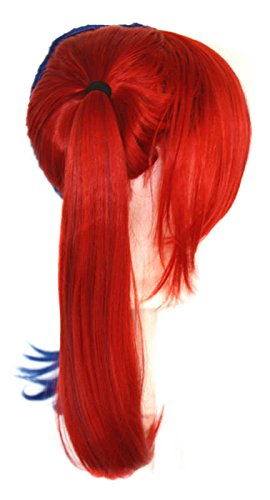 Amazon.com : Nanako - Royal Blue and Scarlet Red Split Wig 18 Pigtails with Part and Long Bangs : Beauty