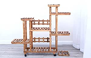 N- Solid wood flower rack living room balcony floor style flower stand anti - corrosion outdoor flower rack ( Color : A , Size : With wheel )