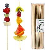 Brandonsuper Bamboo Skewers 200 Pcs Natural BBQ for Shish Kabob, Grill, Appetizer, Fruit, Corn, Chocolate Fountain 4'/6'/8'/10'/12'