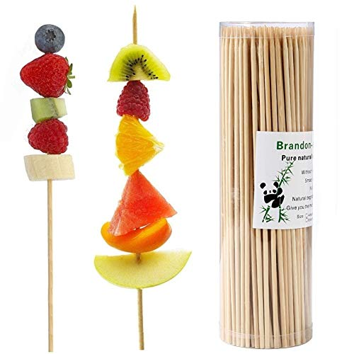 Brandonsuper Bamboo Skewers 10 Inch (200 Pcs) Pcs Natural BBQ for Shish Kabob, Grill, Appetizer, Fruit, Corn, Chocolate Fountain -
