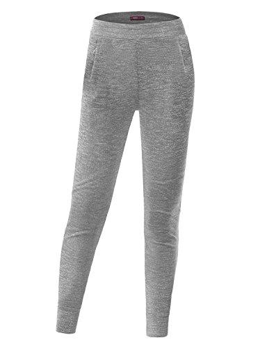 Doublju Women High Neck Jersey beautiful LIGHTGRAY pants,S