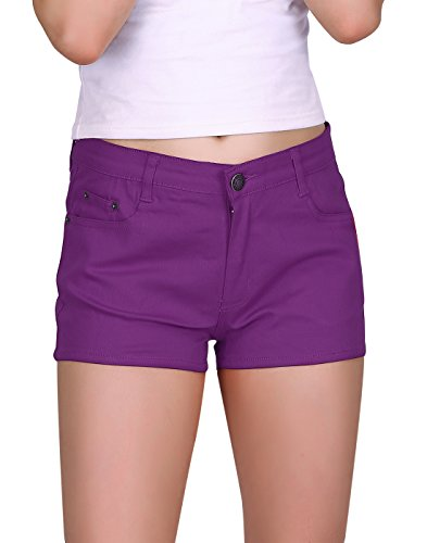 (HDE Women's Solid Color Ultra Stretch Fitted Low Rise Moleton Denim Booty Shorts (Light Purple, Large))