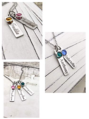 Personalized Birthstone Bar Name Necklace