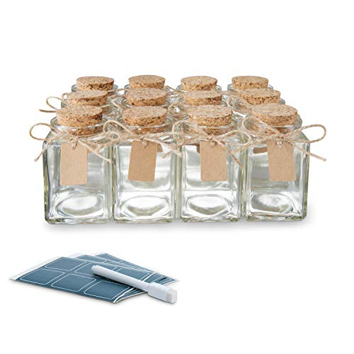 Glass Favor Jars with Cork Lids Square 3.4oz - Mason Jar Wedding Favors Apothecary Jars Bottles with Chalkboard Labels, Chalk Pen, Personalized Tags String [12pc Bulk Set] Spices, Candy