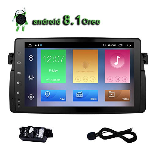 Car Radio E46 Android 8.1 Oreo Stereo Quad Core 9 inch Touch Screen GPS Navigation for BMW E46 M3 3 Series Bluetooth AM FM Player IPS Single Din Head Unit USB Video WiFi 2+32GB