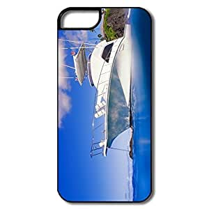 IPhone 5 5S Hard Plastic Cases, Yacht Blue Ocean White/black Cases For IPhone 5