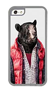 Apple Iphone 5C Case,WENJORS Cute Black Bear Soft Case Protective Shell Cell Phone Cover For Apple Iphone 5C - TPU Transparent