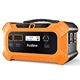 Audew Portable Power Station,500Wh Solar Generator with Car Jumper Port,Lithium-Iron- Phosphate Battery Power Supply with 110V/200W(Max 250W) AC Outlet for Outdoors Camping Emergency(500Wh)