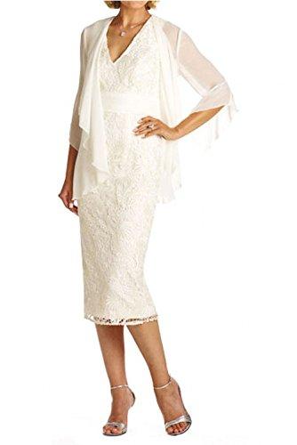 Spitze Abendkleider Knie Weiß Ballkleider Damen mit Ausschnitt Brautmutterkleider Glamour Charmant V Lang Bolero qa1wBIBF