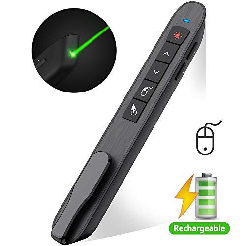 DinoFire Air Mouse Green Light Presentation Remote Control USB Rechargeable Presentation Clicker Wireless Presenter RF 2.4 GHz Powerpoint Clicker Slide Advancer ChangerPointer Mac/Laptop/Computer