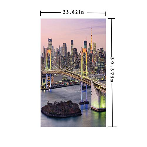 No Glue Static Cling Window Film decorate by Tokyo Japanese Capital City Rainbow Bridge Skyscrapers Ultra Modern Town Scene Decorative,W15.7xL63in,Privacy Decorative Glass Film with Multicolor