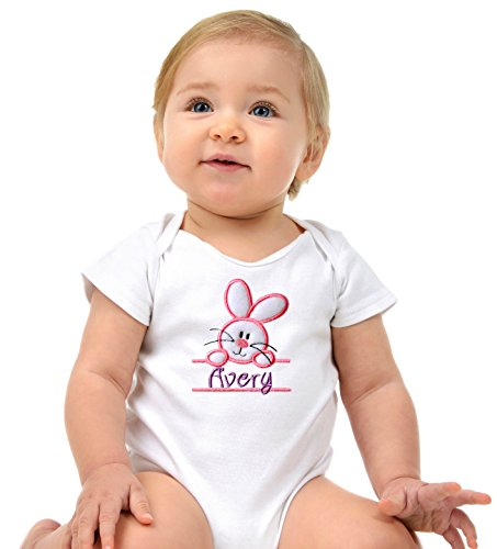 Funny Girl Designs Personalized Embroidered Easter Bunny Baby Girls Onesie Bodysuit Your Custom Name (6-12 Months Short Sleeve, White) for $<!--$25.99-->