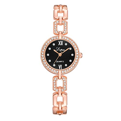 (LUCAMORE Rhinestone Bracelet Watch for Women,Crystal Round Dial,Stainless Steel Watch Band,Girls Bracelet Watch)