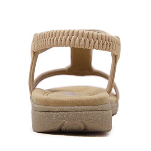 dqq Mujer Open Toe T Correa Flat Sandal Beige