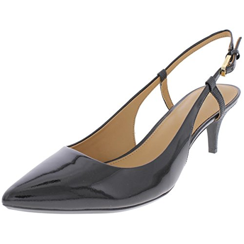 Calvin Klein Womens Patsi Patent Leather Slingback Heels Black 8 Medium (B,M)