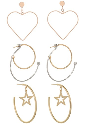 NEW-EC Hoop Earrings For Women Rose Gold Silver Heart Star Dangling Metal Simple Elegant Big Dangle Earrings For Girls Extra Large Lightweight Charms Vintage Fashion Jewelry Cheap (A+B+C-3Pairs) (Heart Dangling Ring Charm)