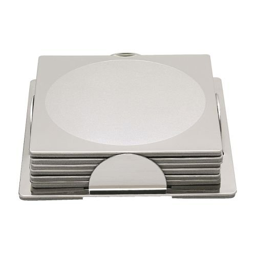 IKEA GROGGY - Coaster, square, stainless steel / 6 pack - 8x8 cm