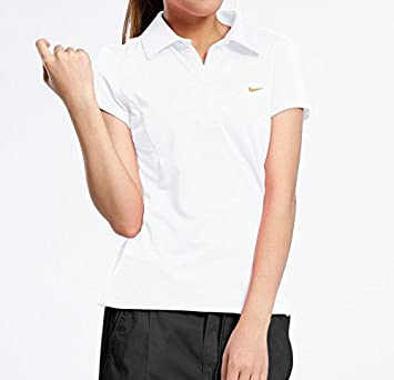 03db9f87 Nike Ladies Girls Fitted Dri Fit Sports Training PE Gym Polo Shirt Top  White: Amazon.co.uk: Sports & Outdoors